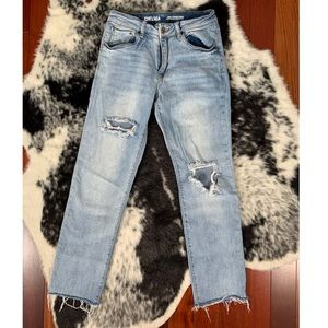 Chelsea High Rise Straight distressed denim jeans